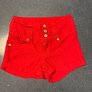 High waisted red Rue 21 shorts (: